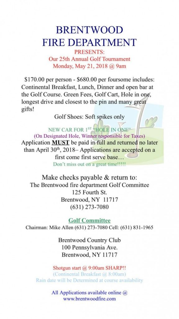 Brentwood FD 25th Annual Golf Outing