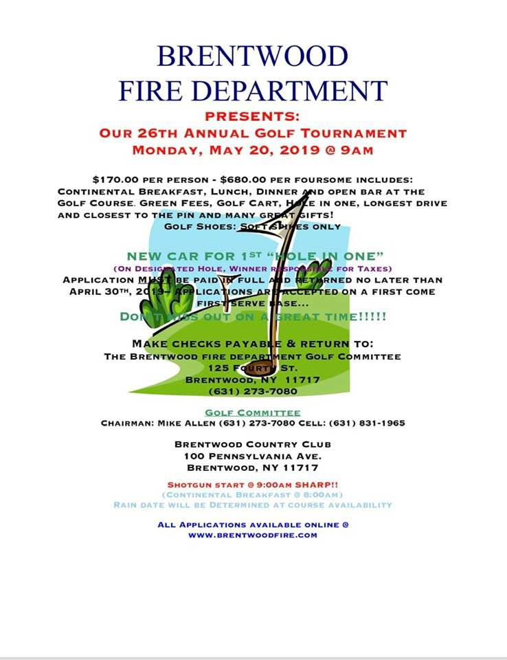Brentwood FD invites you to participate in the 26th Annual Golf Outing